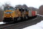A pair of UP SD70M's head west with an intermodal train